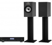 Bowers & Wilkins 606 (black) + Rotel A12 (black)